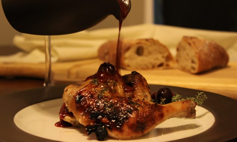 Cornish Game Hen with Triple Cranberry Thyme Sauce