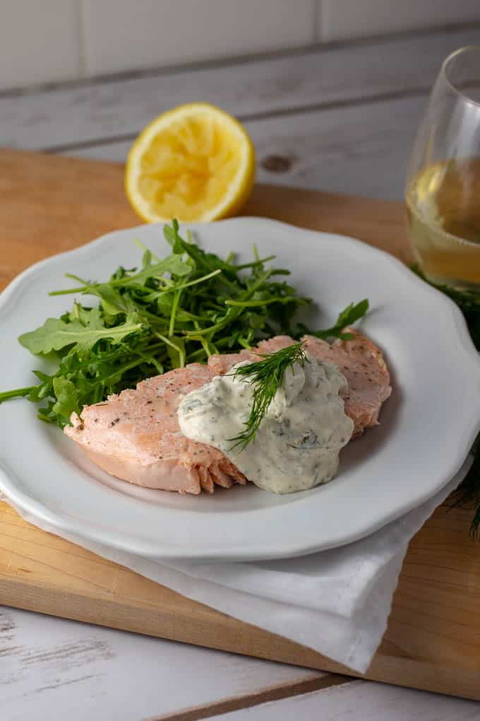 Easy Poached Salmon with 5-Minute Creamy Dill Mustard Sauce