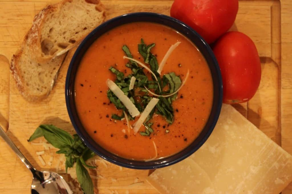 Creamy, Light Basil Tomato Soup