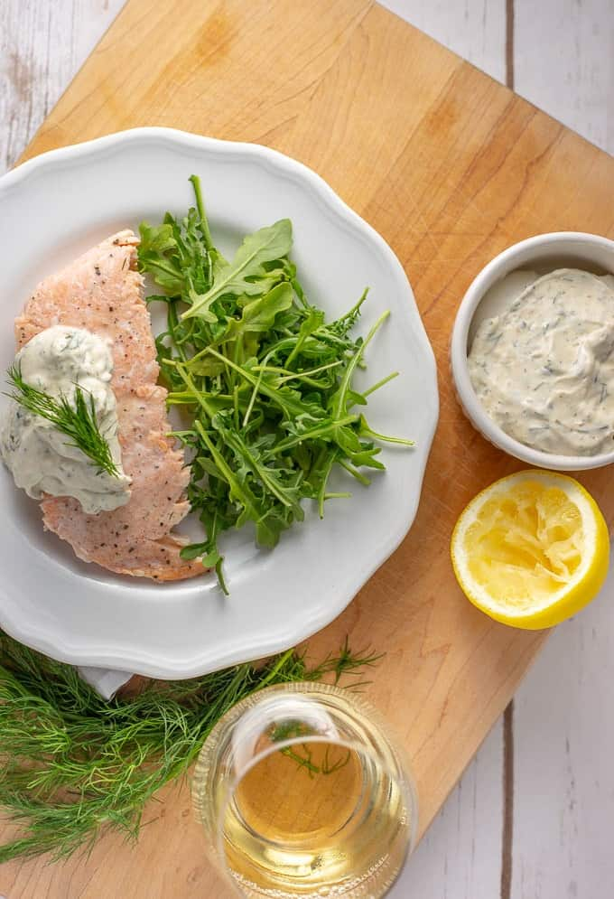 Poached salmon with fast and easy mustard dill sauce.