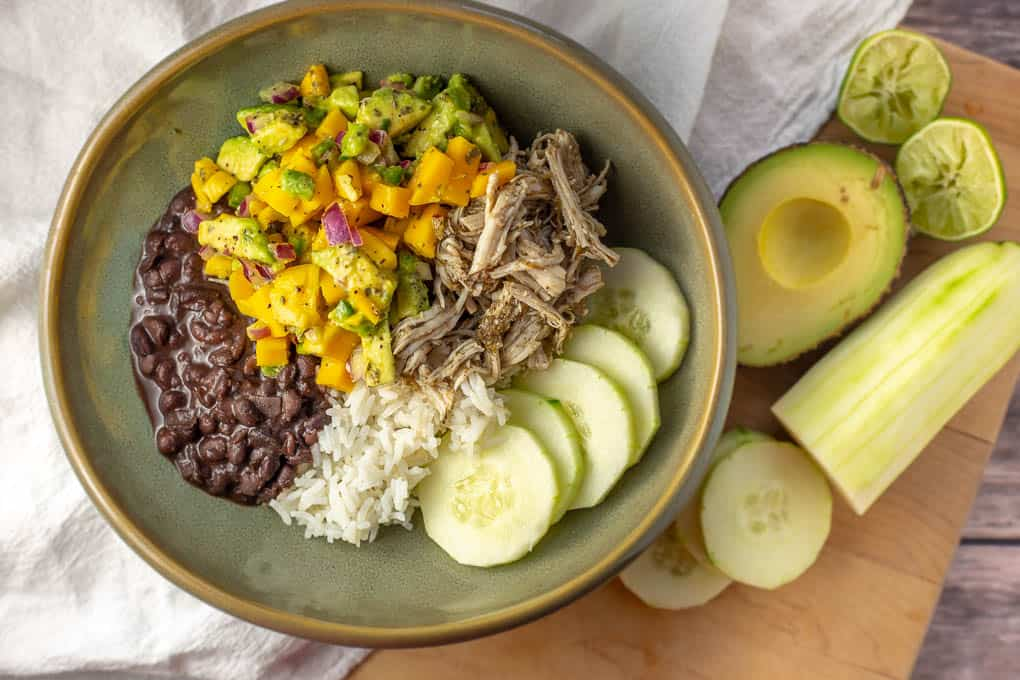 Shredded Jerk Chicken Bowl with Mango Avocado Salsa - Crockpot, instapot of stovetop.jpg
