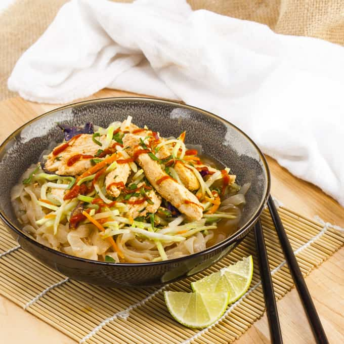 Spicy Peanut Shirataki Noodles with Chicken