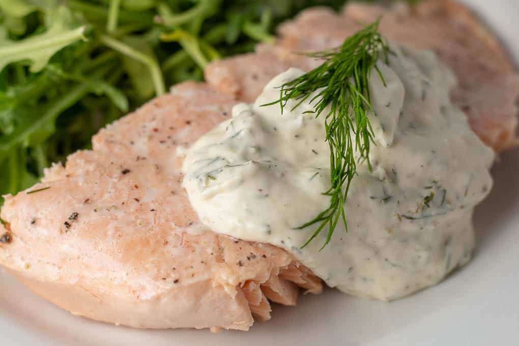 Super simple Poached Salmon with Creamy Dill Mustard Sauce