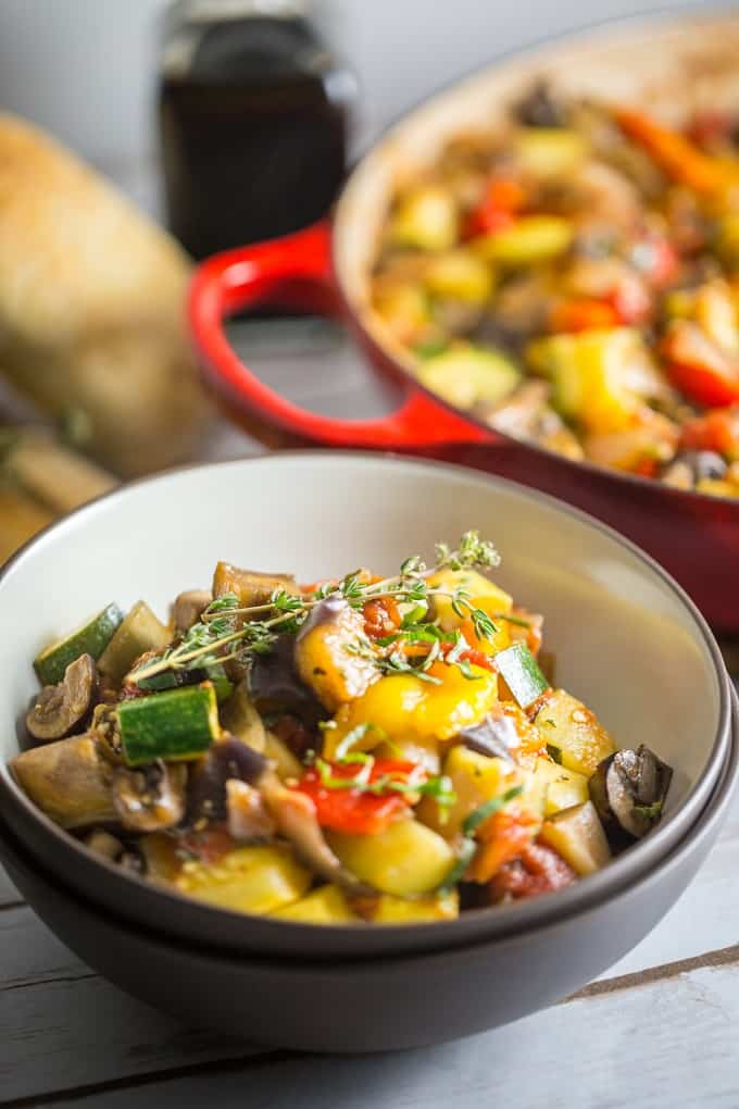 This delicious, easy to make ratatouille is hearty, vegan and gluten free