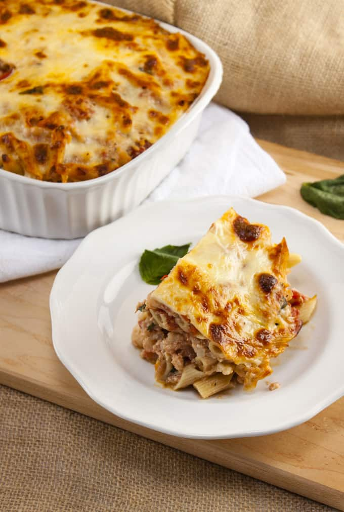 Low Calorie Baked Ziti on plate