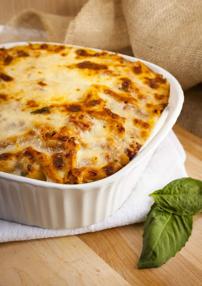Low calorie baked ziti in casserole