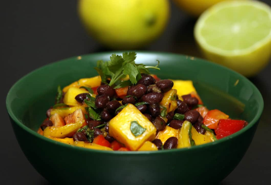 ... mango salad with black bean s avocado mint and chile lime vinaigrette