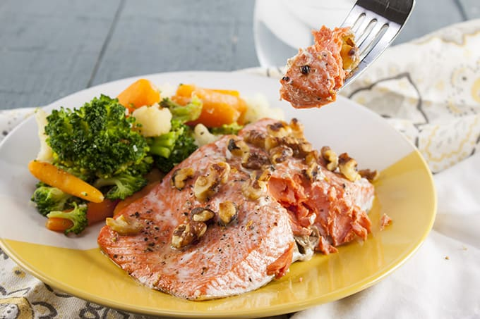 You'll never believe how fast and simple this super-healthy Maple Walnut Salmon is.