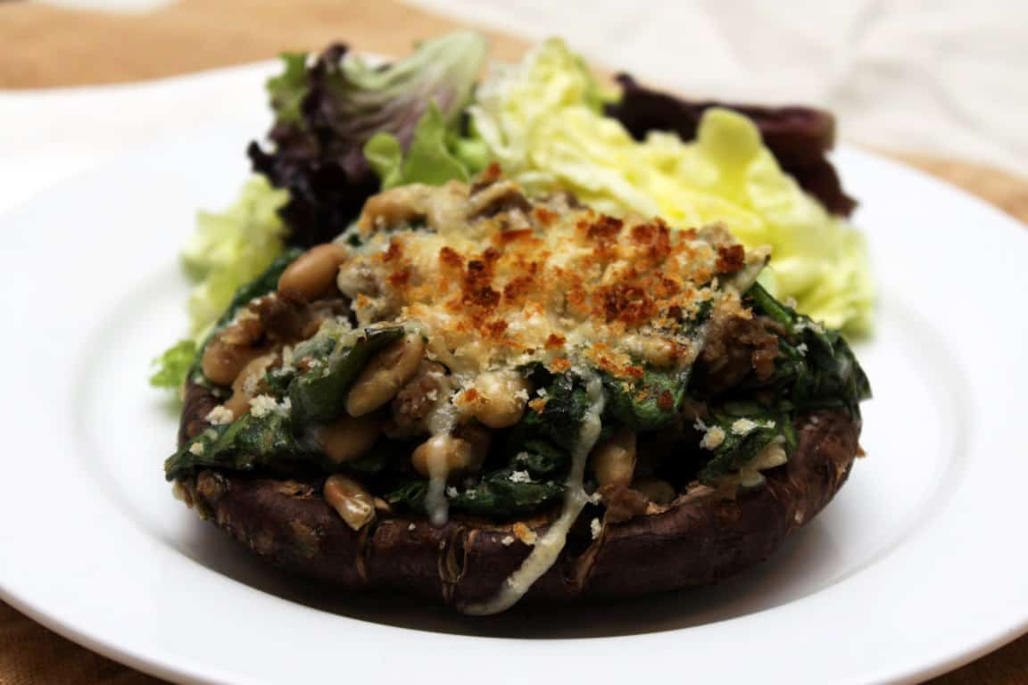 White bean, Chicken Sausage and Spinach-Stuffed Portabella Mushroom Caps