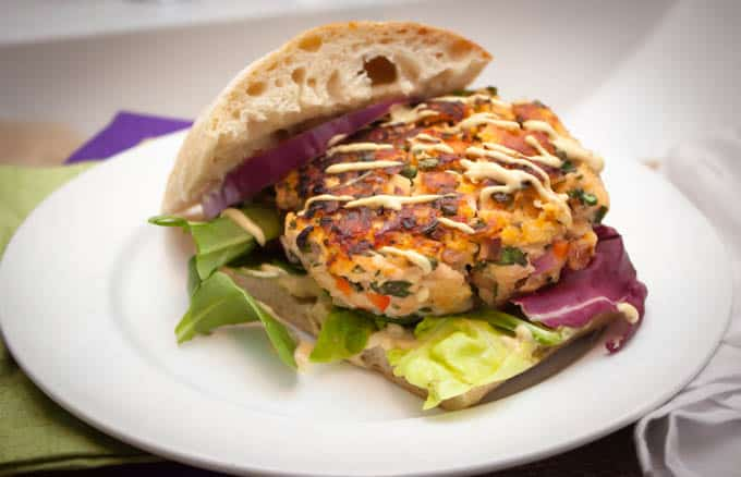 Paleo Salmon Crab Burger