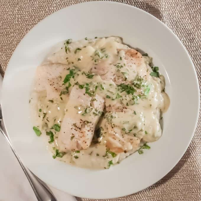 Baked Tilapia with Sunchoke Puree and Herb Mustard Sauce | Home Sweet ...