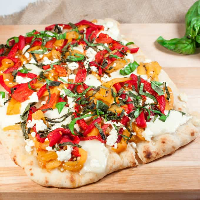 Roasted Pepper and Goat Cheese Flatbread