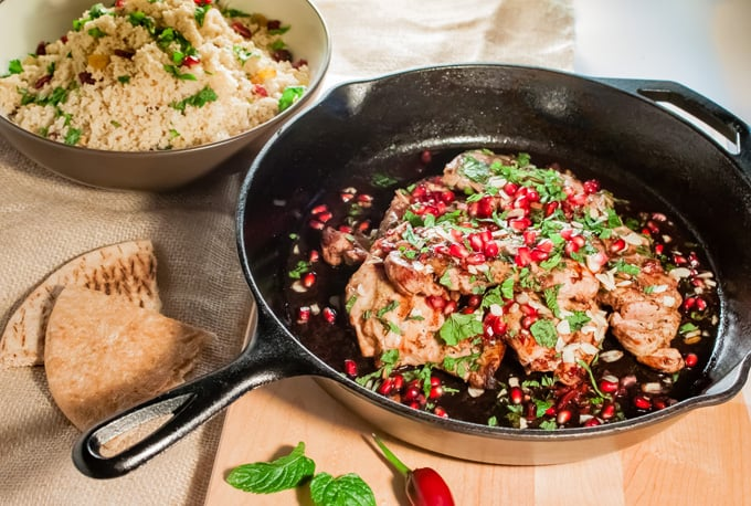 Rose water pomegranate chicken with mint