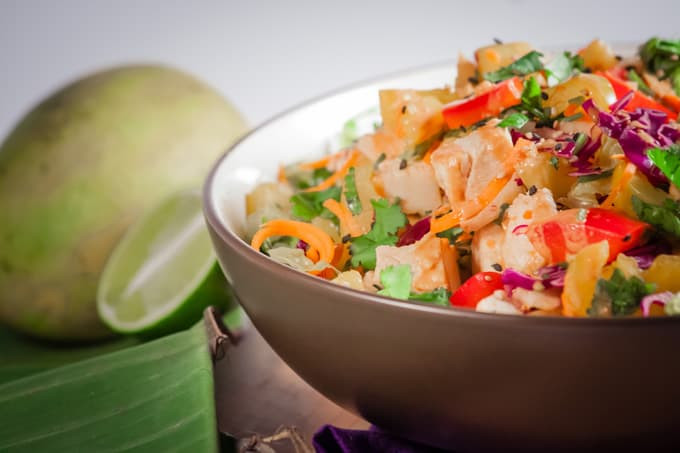 Thai Mango salad with Spicy Peanut Sauce Close Up