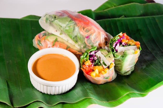 Vegan Summer Rolls with Spicy Peanut Sauce | Home Sweet Jones