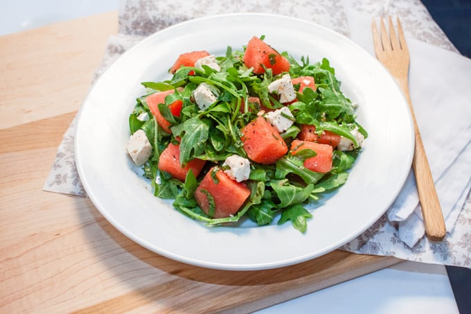 Watermelon, Feta, Arugula and Mint Salad