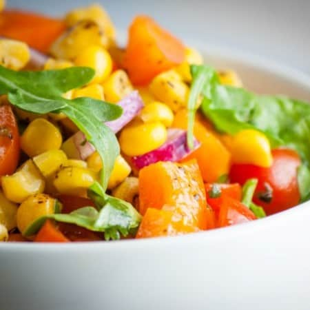 Roasted Corn and Arugula Salad