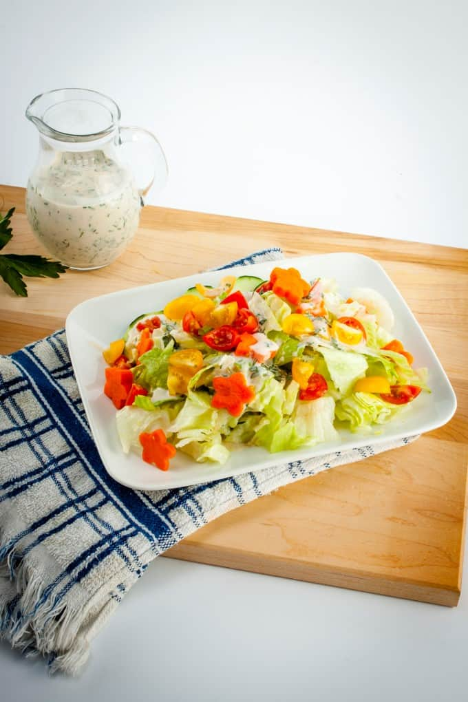 Chef salad with homemade light buttermilk ranch dressing