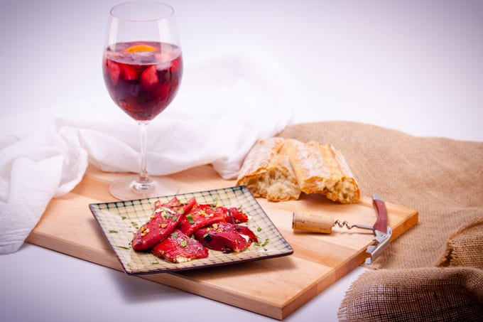 Goat Cheese Stuffed Piquillo Peppers with Bread and Sangria