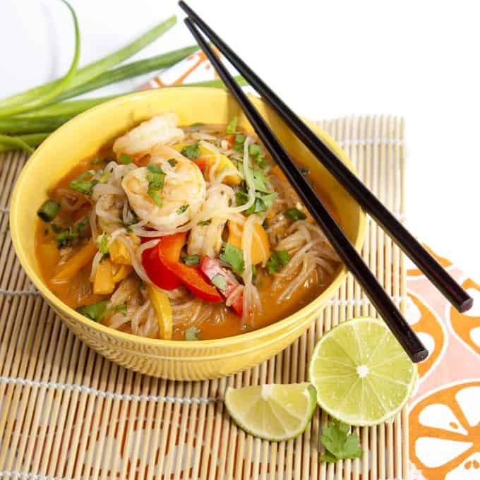 Miracle Noodle Shrimp and Vegetable Coconut Curry