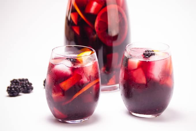Red Wine Sangria with Summer Fruits two glasses