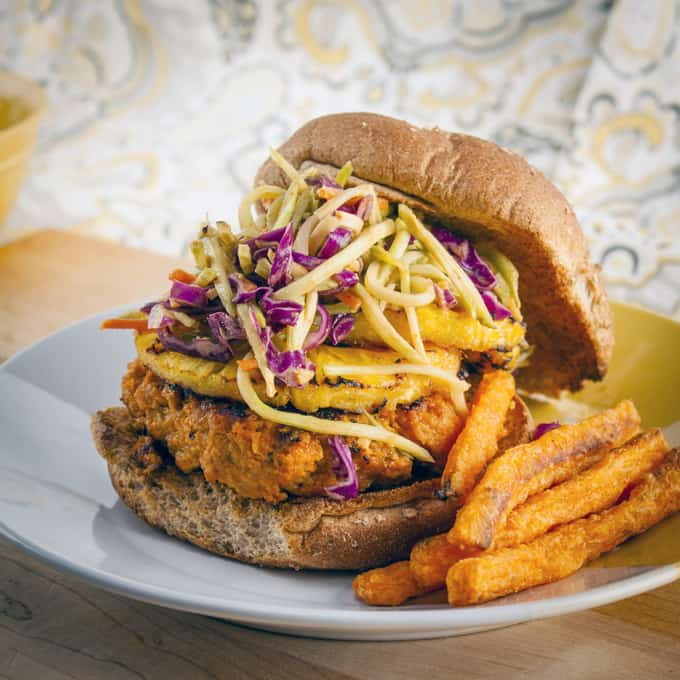 Thai Turkey Burger with Grilled Pineapple and Spicy Peanut Slaw | Home ...