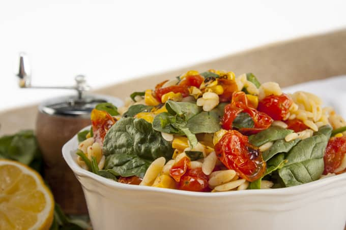 Summer Orzo Salad with Corn, Spinach and melted tomatoes