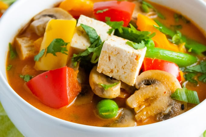 Thai Red Curry with Vegetables and Tofu CloseUp