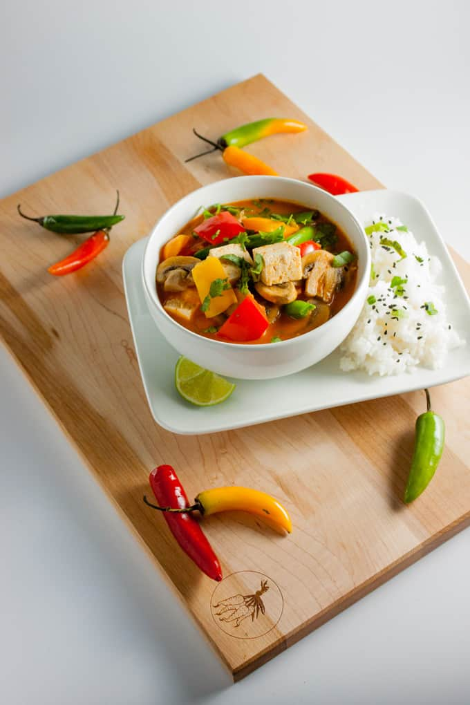 Thai Red Curry with Vegetables and Tofu Vertical