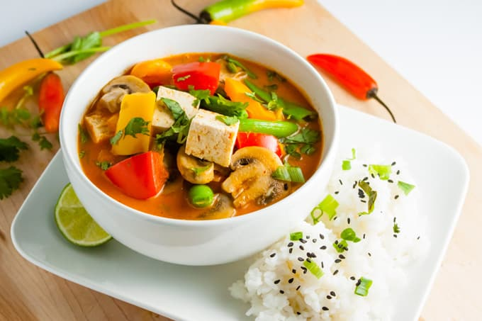 Thai Red Curry with Vegetables and Tofu