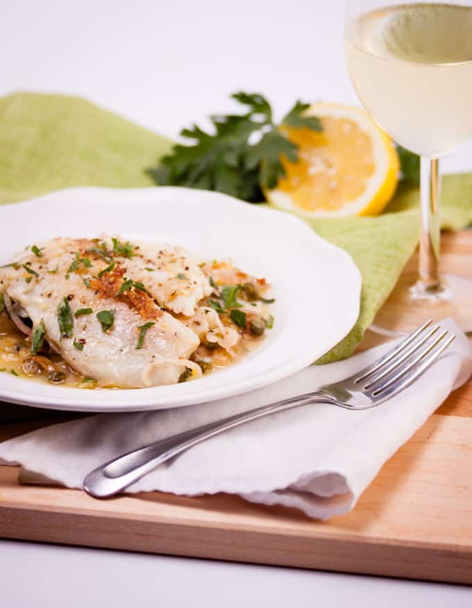 Tilapia in White Wine Caper Sauce