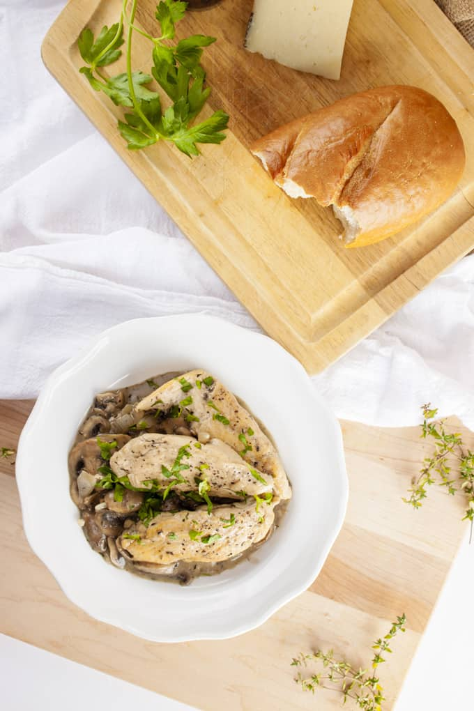 Gluten Free Chicken Breast in creamy Mushroom Sauce