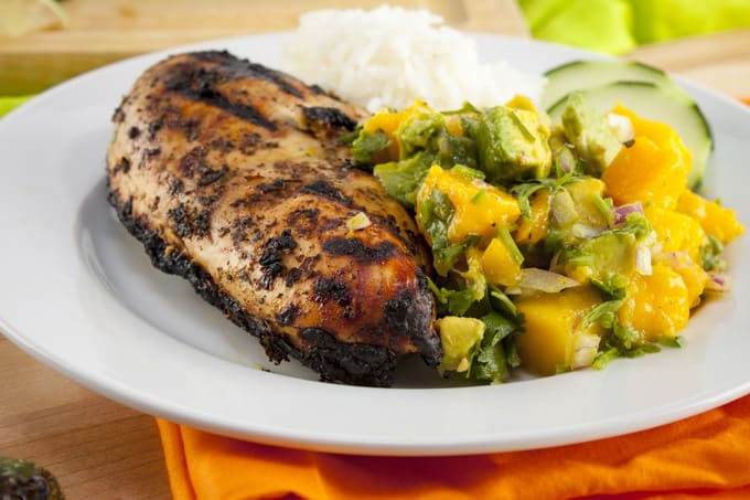 Grilled Jerk Chicken Breast with Avocado Mango Salsa