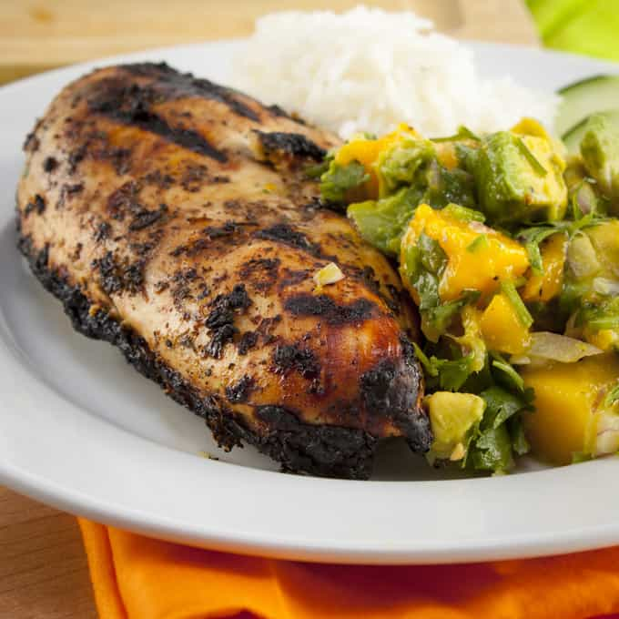 Grilled Jerk Chicken with Mango Avocado Salsa | Home Sweet Jones