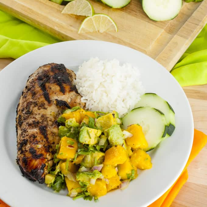 Jerk Chicken with Avocado Mango Salsa Square2