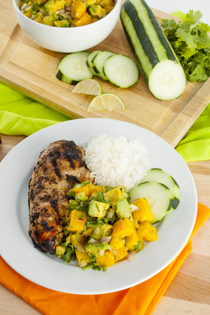 Jerk Chicken with Avocado Mango Salsa