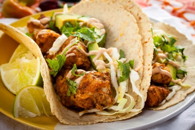 Grilled fish tacos with lightened up chipotle baja sauce for Sauces for fish tacos