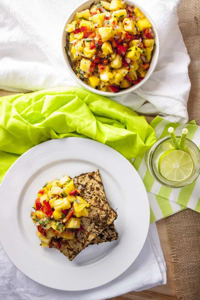 Caribbean Jerk Tofu with mango pineapple salsa