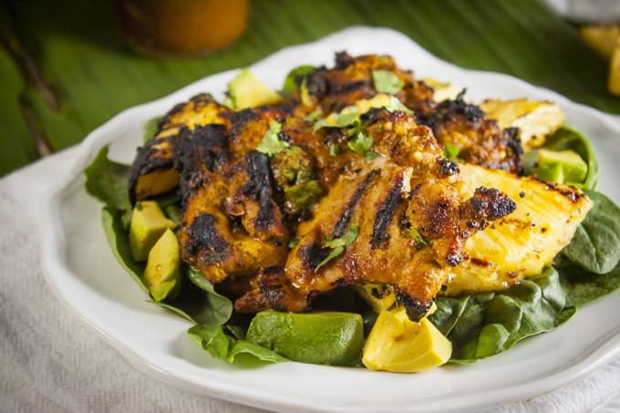 Grilled Chicken and Pineapple Salad with Peanut Dressing