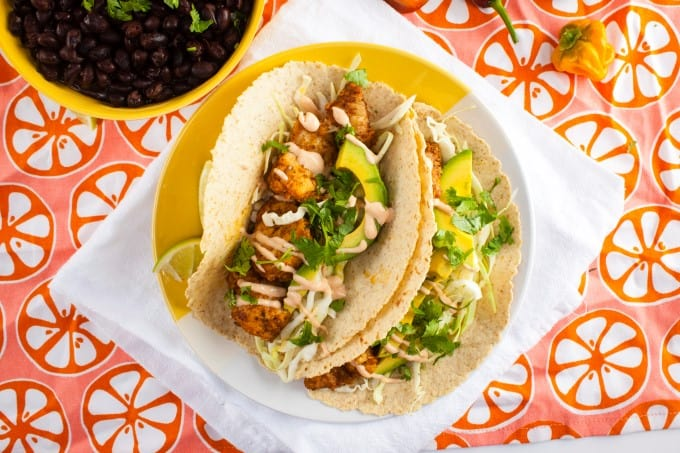 Grilled Fish Tacos with Lightened-Up Chipotle Baja Sauce | Home Sweet ...