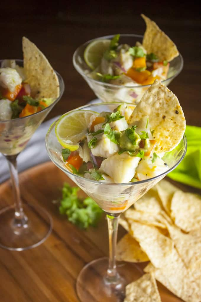 Halibut ceviche with avocado and lime