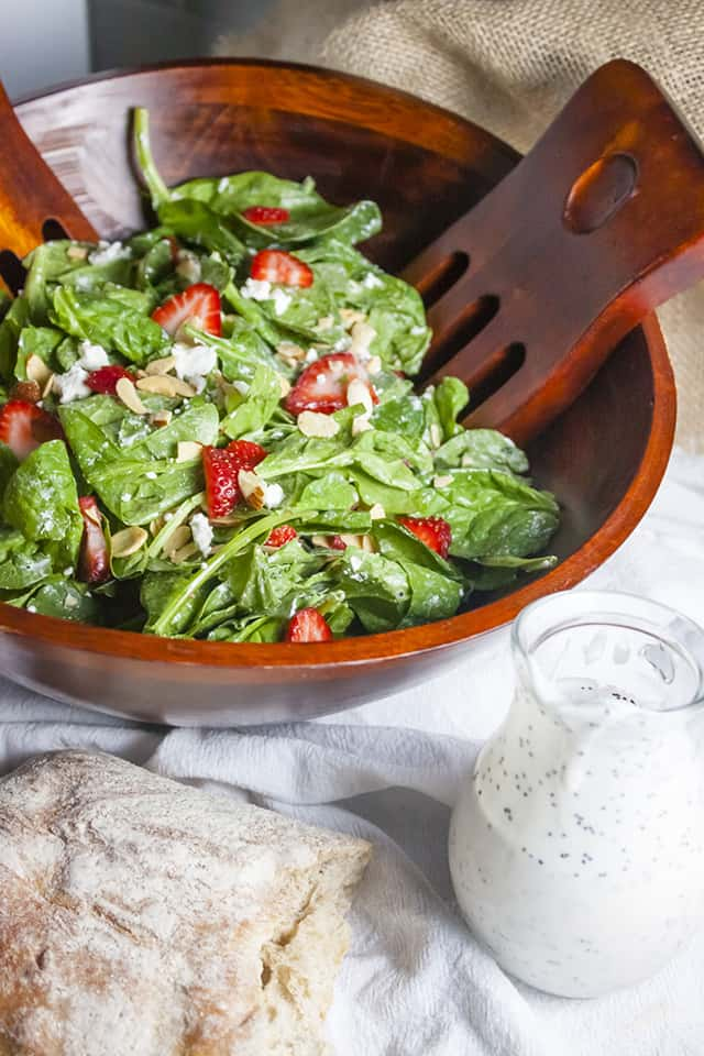 Strawberry, Spinach, Goat Cheese Salad with Poppy Seed Dressing
