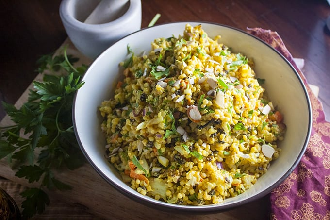 Curried Israeli Couscous with Cauliflower