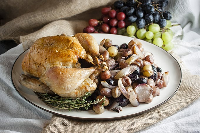 Easy roasted chicken with grapes and shallots