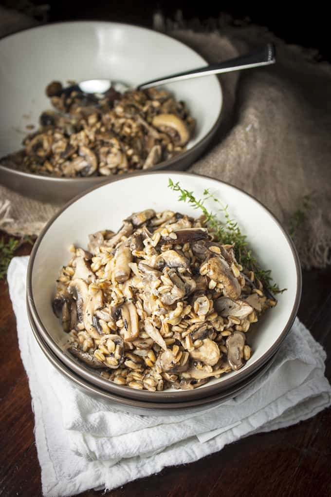 Farro with sauted mushrooms