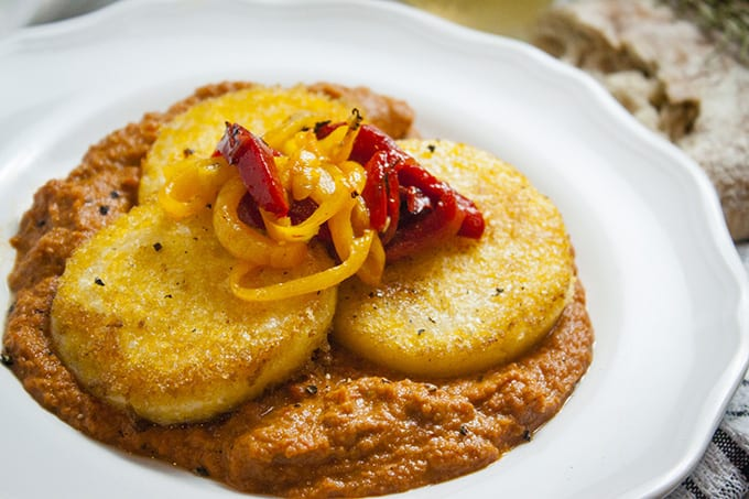 Polenta Rounds with Roasted Red Pepper and Pepperoni Sauce