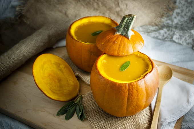 Pumpkin soup in pumpkin bowls