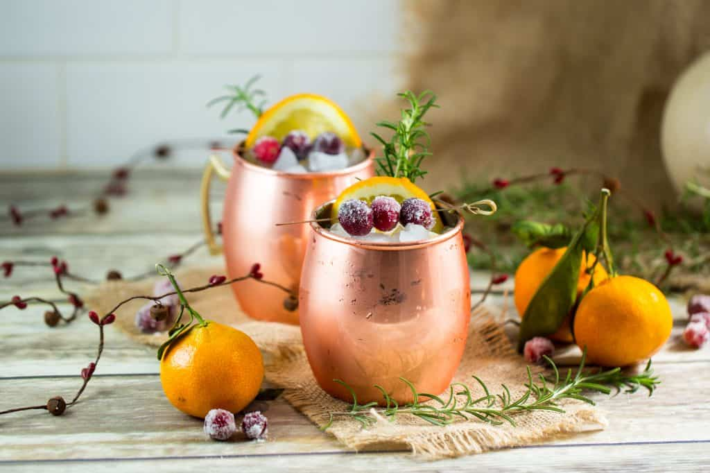 Holiday moscow mule is perfect for Thanksgiving or Christmas parties