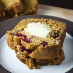 Pumpkin cranberry bread with walnuts