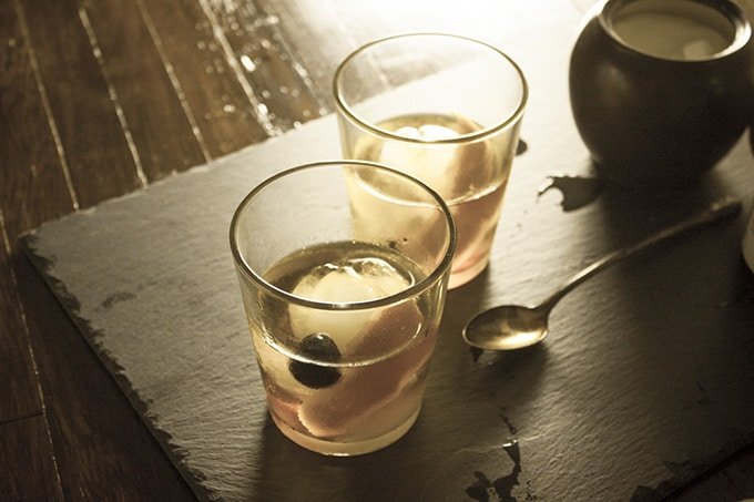 old fashioned cocktail sepia